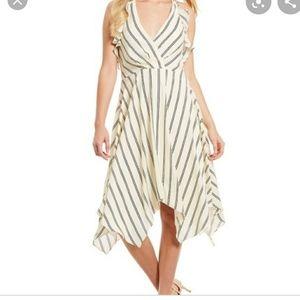 H Halston sz 12 ruffle striped halter dress